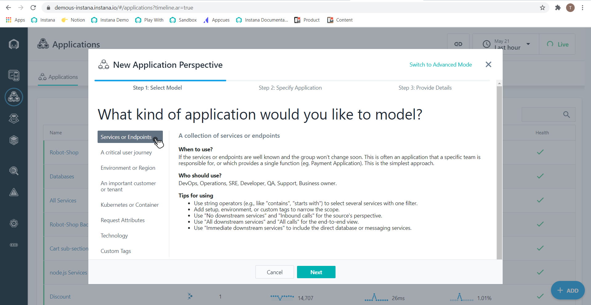 SCREENSHOT IMAGE: Select an Application Perspectives template.