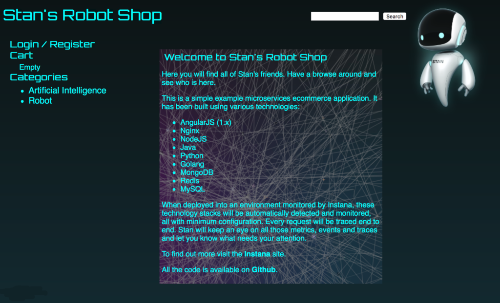 Stan's Robot Shop - a Sample Microservice Application - Instana
